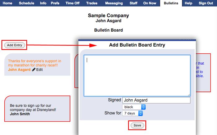 bulletin board add entry