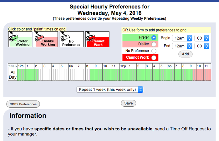 special hour preferences for a day