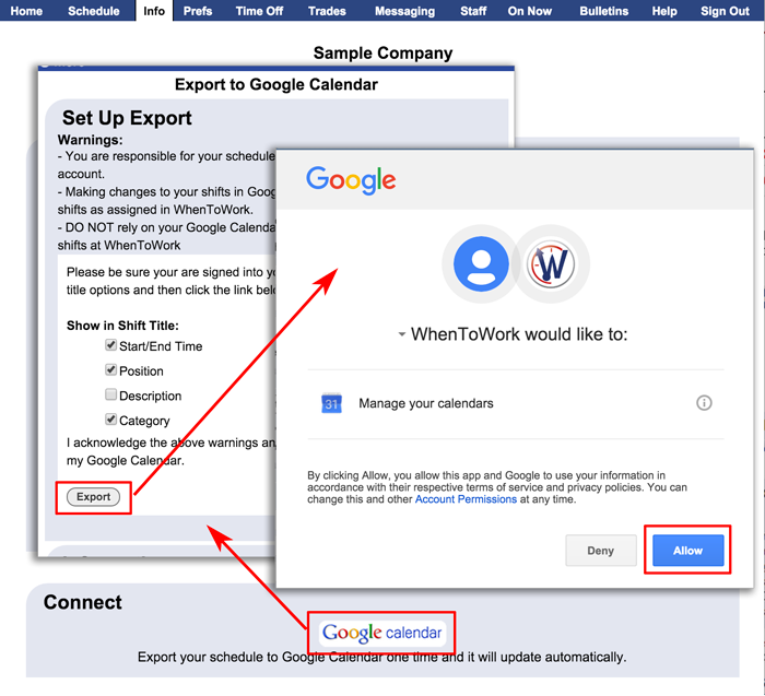 Export to Google Calendar - emphelp