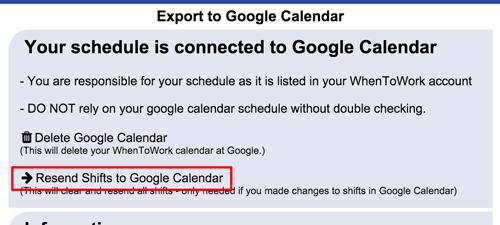 resend shifts to google calendar
